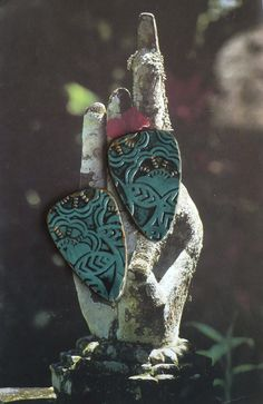 2 CABOCHONS ASIATIQUES POUR BOUCLES D'OREILLES - FIMO - ARGILE POLYMERE : Accessoires pour bijoux par atelier-fujigirls