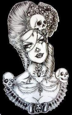 Marie  - Satin Paper Print Victorian Woman Marie Antionette Laveau Voodoo Gothic Dark Art Tattoo Skulls Lace