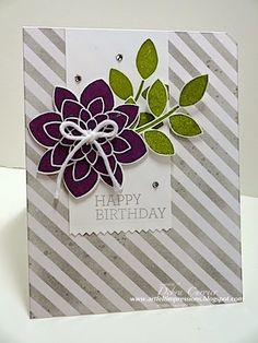 Deb's pretty card: Crazy About You, Gorgeous Grunge, Irresistibly Yours dsp (SAB), Flower Medallion punch, & more. All supplies from Stampin' Up!