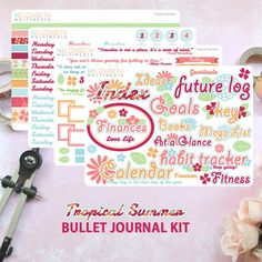 Pin for Later: Your Fit Goals Meet Your Organization #Goals With Bullet Journals Bullet Journal Kit — Tropical Summer Want to add a little flair to your journal? Try these colorful stickers ($3).