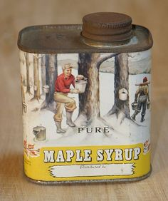 Pending Shannon/ Vintage rare Vermont Pure Maple Syrup Tin Can with Wonderful… Vintage Soul, Vintage Tins, Vintage Labels, Vermont Winter, Tin Containers, Tea Tins, Pure Maple Syrup, Green Mountain, Tin Boxes