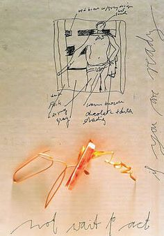 Manfred Bischoff: Or-Son, 2002 fine gold, coral 3 x 4 x Gouache, Jewelry Art, Jewelry Design, Jewellery Sketches, Jewelry Sketch, Artist Sketchbook, Hand Sketch, Make A Person, Oui Oui