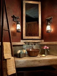 Traditional Rustic Lake House Bathroom Design, Pictures, Remodel, Decor and Ideas - page 2 Lake House Bathroom, Master Bathroom, Modern Bathroom, Downstairs Bathroom, Bathroom Small, Cozy Bathroom, Lodge Bathroom, Earthy Bathroom, Small Rustic Bathrooms