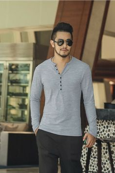 L&C's Textured Henley Grey. #Shirt #MensShirt #MensWear #MensStyle #MensFashion #Style #GQ #FashionStyle #FashionWear #FashionTrend #Fashion #Trend #MensLook #LookBook #Handsome #FashionTrend #Style #Fall