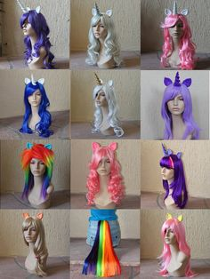 Wanna dress up as a sparkly Rainbow Dash or Pinkie Pie? If so, these My Little Pony inspired costume wigs and tails will be perfect for your cosplay event. Unicorn Costume, Costume Wigs, Cosplay Wigs, Unicorn Party, Cosplay Costumes, Halloween Cosplay, Halloween Costumes, Jessie Halloween, Unicorn Halloween
