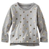 This soft long-sleeve tee is decorated with gold foil glitter dots and a layered hem. Dress it up with a skirt or pair it with sparkle fleece pants for a charming active look.<br>