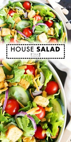 Easily make your favorite restaurant's House Salad at home! Quick and easy answers for what goes in a House Salad and dressings you can serve with it. Potluck Recipes, Healthy Salad Recipes, Side Dish Recipes, Casserole Recipes, Healthy Side Dishes, Vegetable Side Dishes, Vegetable Recipes, Barbecue Side Dishes, House Salad