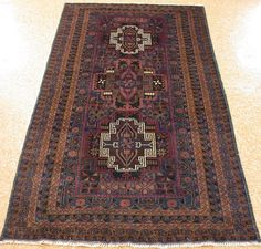 4 x 7 AFGHAN BALOUCH Tribal Hand Knotted Wool BLUE BROWN NEW Oriental Rug #Unbranded #AfghanBalouchGeometricTribal