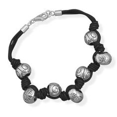 7.75 Black Cord with Sterling Silver Bead by OneSavvySister
