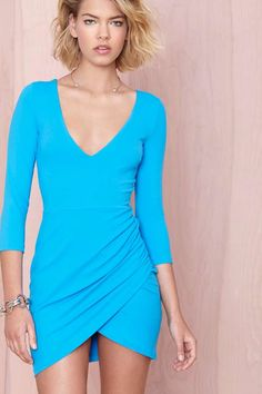 Nasty Gal Deep Down Dress - Blue | Shop Dresses at Nasty Gal