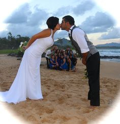 Framed with a kiss! To help create your dream wedding give us a call at 877-711-3003 or visit www.AlohaEverAfter.com. #kauaiweddings