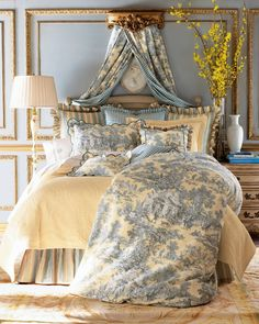 Looking for toile bedding? Add elegance and sophistication to any bedroom in your home with French-inspired toile bedding. French Country Bedrooms, French Country Decorating, Country French, French Style, French Blue, French Country Bedding, French Bedding, European Bedroom, Country Bedroom Design