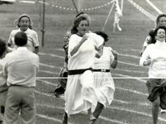 Princess Di - Here she is at her boy's school, running in a race -a head of the pack