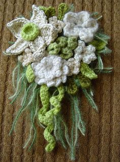 crochet white orchid corsage by meekssandygirl, via Flickr