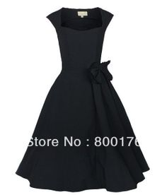free shipping 1014 black 40s 50's  Dress Pinup dress Vintage dress Rockabilly Retro dress US $42.88