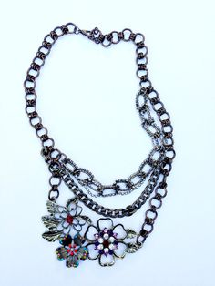 Handmade Colored Rhinestone Floral Statement by UnbiasedHeart, $40.00