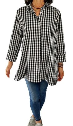 e0552631767 COMFY USA XL 1X Fit Claire Shirt Black White Gingham Check ¾ Sleeve Tunic  Top