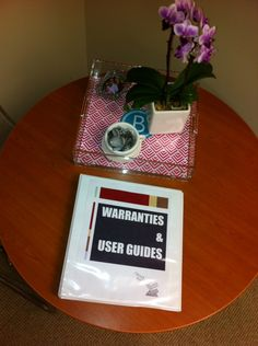 Making a binder for warranties and user guides.  Easy concept, but has inspired me nonetheless!