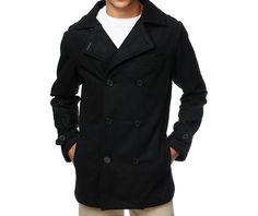 6c4e37313d5d05 Empyre Mercer Black Wool Pea Coat