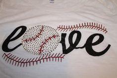 LOVE Glitter and Bling Baseball or Softball Shirt--Customized