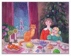 Christmas Cat paintings.  - Tatyana Rodionova