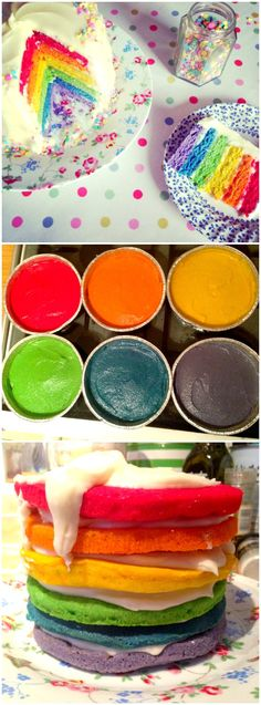 Rainbow Cake Recipe - How to make a Rainbow Cake! A delicious step by step UK-friendly recipe to make a bright and vibrant layered Rainbow Sponge Cake with Cream Cheese Frosting - perfect for birthdays! Cake With Cream Cheese, Cream Cheese Frosting, Cupcakes, Rainbow Birthday, Unicorn Birthday, Unicorn Party, Cake Toppings, Sponge Cake, Cake Batter