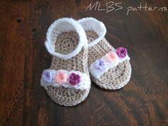 Baby sandals crochet pattern Photo Tutorial US terminology