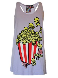 THE SCOOP: Our custom made tank is made in super soft preshrunk cotton. The tank features hand drawn deadly popcorn in the shape of little skulls, which will make you 'one hot ticket' when you rock it Band Outfits, Cute Outfits, Ropa Color Pastel, Punk Fashion, Crazy Fashion, Cool Shirts, Plaid Shirts, Grunge, Pastel Goth