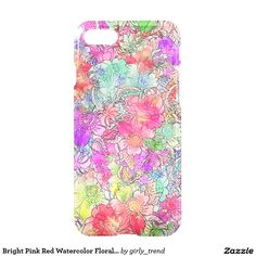 Bright Pink Red Watercolor Floral Drawing Sketch iPhone 7 Case