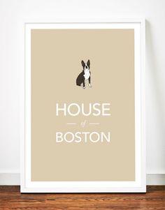 Boston Terrier print poster art illustration typography puppy dog. $29.00, via Etsy.