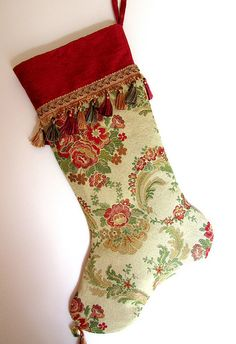 Tapestry and other heirloom stockings hand sewn by the Christmas Muse at xmasmuse.etsy.com