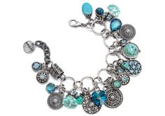 - Our exquisite multi-link charm bracelet featuring a kaleidoscope of vibrant blue Swarovski crystals set in burnished silver charms, coupled with multifaceted crystals and marbled turquoise stones. Length: 19 cm plus extender - Miglio Initial Necklace Silver, Mens Silver Necklace, Blue Rings, Silver Rings, Jewelry Accessories, Jewelry Design, Designer Jewellery, Silver For Jewelry Making, Turquoise Stone