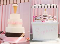 ice cream parlor themed birthday, pink, dessert buffet, girly party