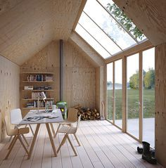 This archetypal Swedish building form, shaped like a Monopoly house, serves as an artist's studio, with a simple plywood interior and massive skylights to let in natural sunlight. Architecture + Photo by Waldemarson Berglund Arkitekter House Design, Art Studio At Home, Backyard Studio, House, Home, Shed Office, Plywood Interior, Shed Homes, Studio Shed