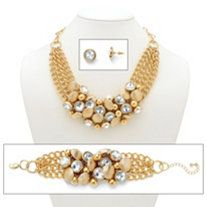 Bezel-Set Rhinestone Rose Gold-Plated Collar Necklace, Bracelet and Stud Earrings Set at PalmBeach