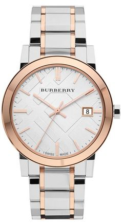 Pretty and shiny!  Two of my favorite things!!  Burberry large check stamped bracelet watch!