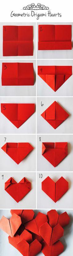 How to fold a geometric origami heart  http://www.dutchdesignonabudget.nl/2015/02/diy-geometric-heart-garland.html #Valentine