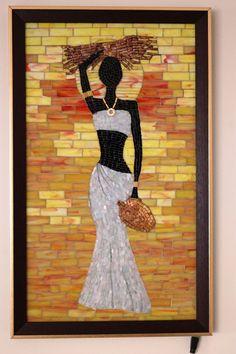 Mosaic Tile Art, Mosaic Crafts, Mosaic Glass, African Drawings, African Art Paintings, Diy Wall Art, Home Decor Wall Art, Mosaic Pictures, Africa Art