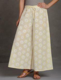 Buy Ivory-White-Yellow Block Printed Tie-Up Waist Cotton Palazzos Online at Jaypore.com