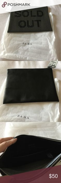 """NWT Zara Sold Out clutch 👛 New with dust bag Zara Sold out clutch.  The inside has one pocket.  The dimensions are 12"""" Length x 10"""" height Zara Bags Clutches & Wristlets"""