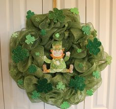 St. Patrick's Day Deco Mesh Wreath.  St. Patrick's Leprechaun Day Decor.  St. Patrick's Day Door Decor.  Cross Welcome Wreath. on Etsy, $45.00