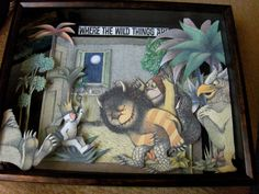 SALE - Where The Wild Things Are... - Collage of Rescued Illustrations - Altered Book Shadow Box Framed -  via Etsy.