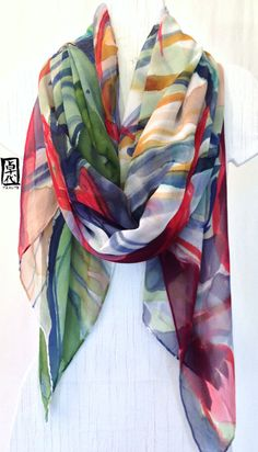 Hand Painted Red Heliconia Flowers Silk Scarf