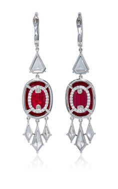 (Backside of earrings) Ruby And Diamond Drop Earrings  by BAYCO Now Available on Moda Operandi - $700,000 - For pierced ears Platinum setting Oval Mozambique rubies: 12.99ct Diamonds: 4.19ct Made in USA