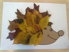 Egel voorzien van bladeren....bedoeld voor kleuters in groep 1/2 Fall Crafts, Crafts For Kids, Homemade Art, Boredom Busters, Kids Playing, Bowser, Kids Toys, Presents, Paper Crafts