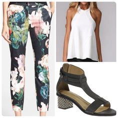 Floral Print Pants, Printed Pants, Floral Prints, Hush Puppies, White Tank, Hush Hush, Capri Pants, Fashion Looks, Tank Tops