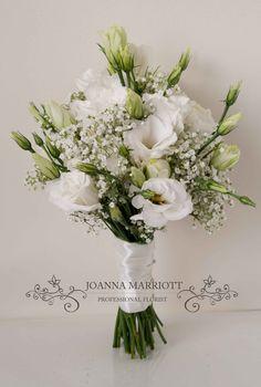 White lisianthus and gypsophila Bridesmaid Bouquet.