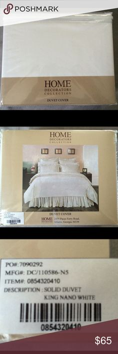 King Solid White Duvet Cover - Brand New!! Brand new in package.  King size white duvet cover.  100% cotton Sateen. Home Decorators Collection Other