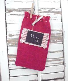 Gift Bag  Wine Bag  Chalkboard  Burlap by pomegranatefarm on Etsy, $14.00