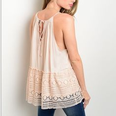 Lace Baby Doll Tank Peach spaghetti strap tank top. Flowy baby doll style with lace detail. Ties in back. New! Tops Tank Tops